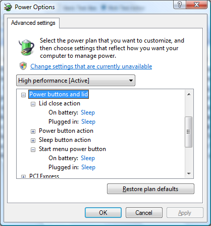 Vista Power Options Dialog