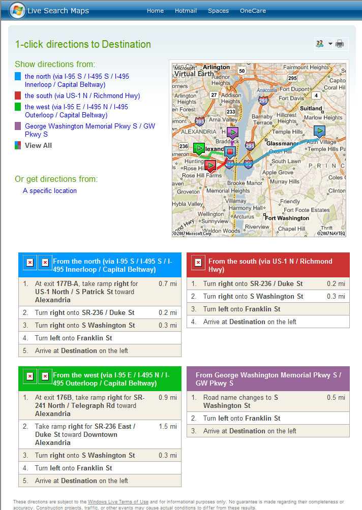 Live Search Maps 1-Click Directions