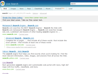 Searching for 'search' on Windows Live